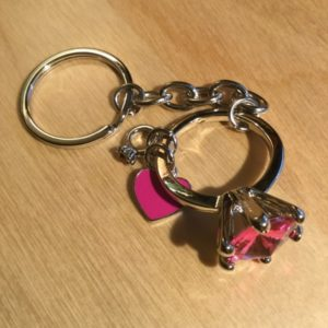 Two Rings and a Heart with Pink Crystals Glitz Key Charm CH226 – Retail Price Shown Below