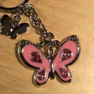 Pink Double Butterfly Glitz Key Charm CH216 – Retail Price Shown Below