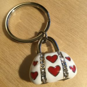 White Handbag and Red Hearts with Diamonds Glitz Key Charm CH210 – Retail Price Shown Below