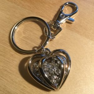 3D Double Heart with White Crystals Glitz Key Charm CH236 – Retail Price Shown Below